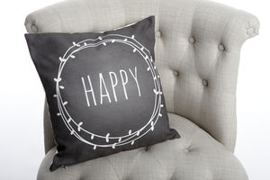Happy Chalkboard Cushion - cushions