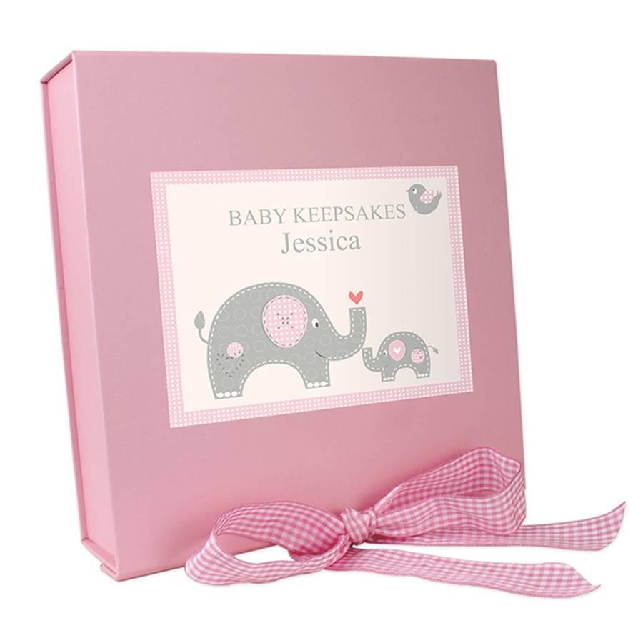Personalised elephant baby girl vest gift set by hope and willow personalised elephant baby girl vest gift set negle Images