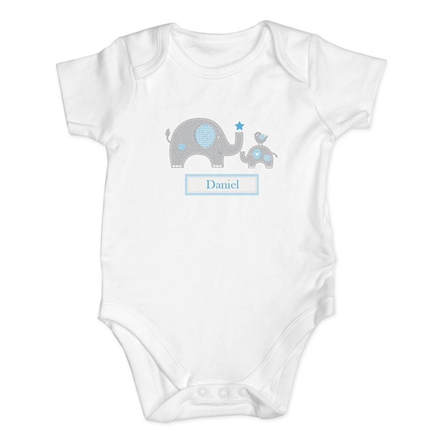 Personalised elephant baby boy vest gift set by hope and willow personalised elephant baby boy vest gift set negle Images