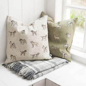 Dog Print Linen Cushions - patterned cushions