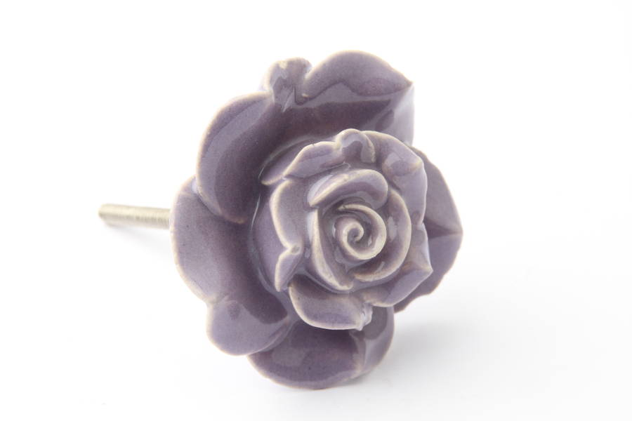purple ceramic flower drawer knob by french grey interiors ...