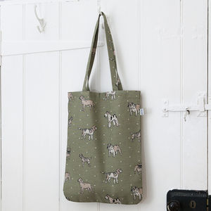 Dog Print Linen Tote Bag - shopper bags