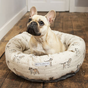 Dog Print Donut Dog Bed - beds & sleeping