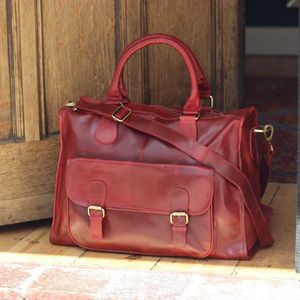 Leather Holdall Travel Bag, Antique Red - women's accessories