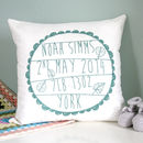 Jade green Personalised Baby's Birth Cushion