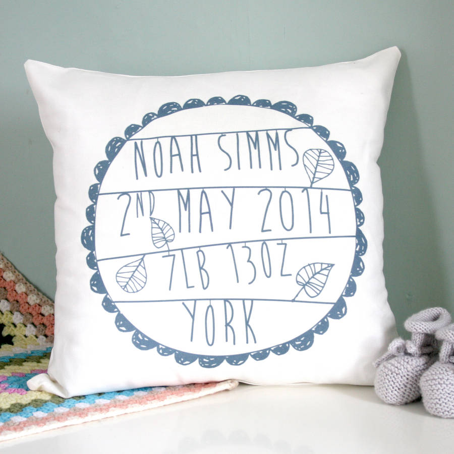 Personalised Baby S Birth Cushion By Modo Creative