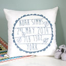 Slate blue Personalised Baby's Birth Cushion