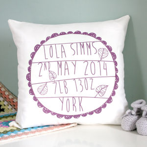 Personalised Baby's Birth Cushion - nursery cushions