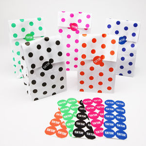 Polka Dot Party Bags With Stickers - party bags
