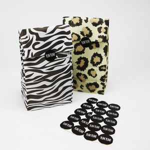 Party Animal Print Bags With Stickers - gift bags & boxes