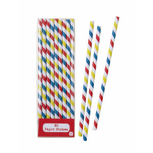 Multi Stripe Party Staw Set Of 30