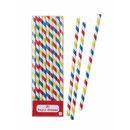 Multi Stripe Party Staw Set Of 30