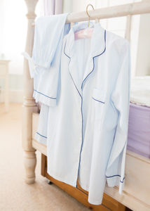 Personalised Classic Blue Cotton Pyjama's - wedding fashion