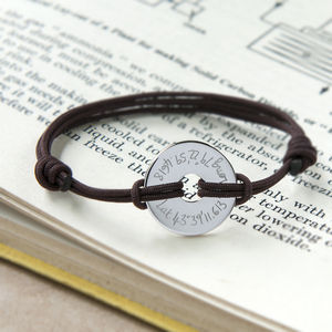 Personalised Coordinate Open Disc Bracelet - for fathers