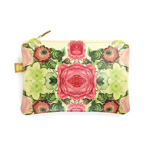 Leather Clutch Bag/Pouch/ Makeup Bag Floral Reflections
