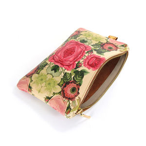 Leather Clutch Bag/Pouch/ Makeup Bag Floral Reflections - evening bags