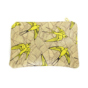 Leather Clutch Bag/ Pouch Yellow Swallow And Leaf - womens