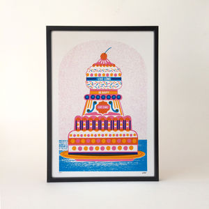 'Be Happy, Live Long, Eat Cake' Screen Print - posters & prints
