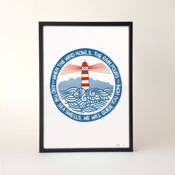 'We Will Guide You' Lighthouse Screen Print