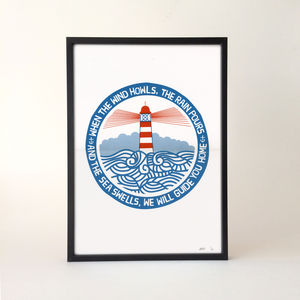 'We Will Guide You' Lighthouse Screen Print - posters & prints