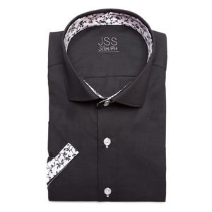 Mens Black Contrasting Short Sleeved Floral Shirt
