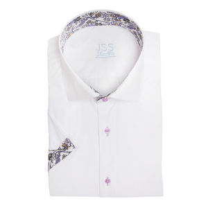 White Lilac Piasley Floral Short Sleeved Shirt - contemporary men's fashion