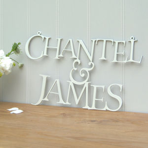 Personalised Wedding Names Metal Sign - art & decorations