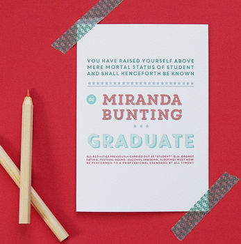 Personalised Graduation Card - Teal & Red Option