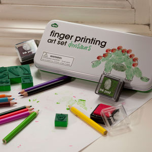 Dinosaur Finger Printing Art Set - stocking fillers