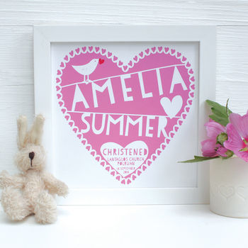 Personalised Christening Square Framed Heart