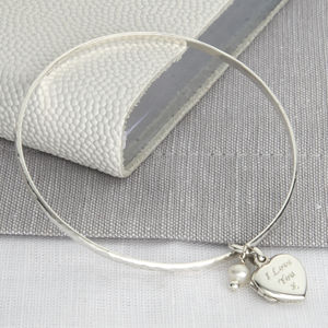 Personalised Sterling Silver Locket And Pearl Bangle - bracelets & bangles