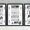 'Sarcasm & Wit' Retro Notice Art Print