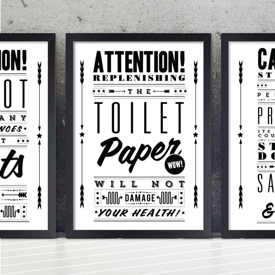 Change The Toilet Paper Vintage Bathroom Art Print By