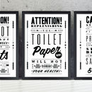 'Toilet Paper' Retro Notice Art Print