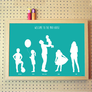 Personalised Silhouette Family Poster - nursery pictures & prints