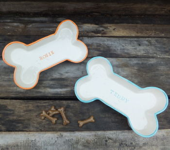 Personalised dog bone bowls in orange and teal