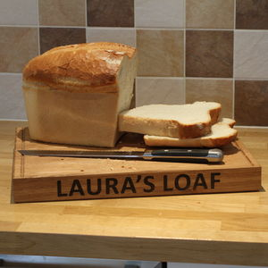 Personalised Solid Oak Bread Chopping Board