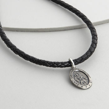 Men's Personalised Woven Leather St Christopher Necklet