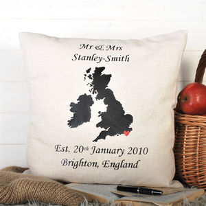 Anniversary Gift And Wedding Location Cushion - bedroom
