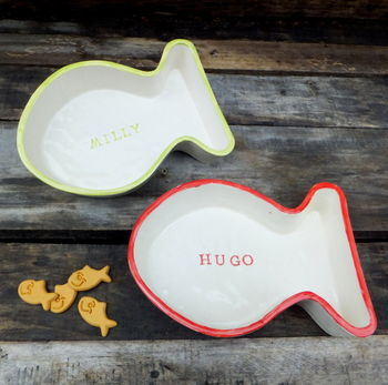 Personalised cat bowl in lime and red