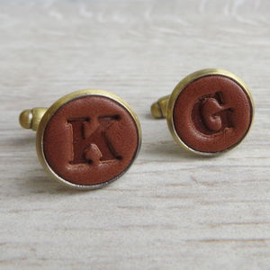 Bronze Embossed Leather Cufflinks - men's accessories