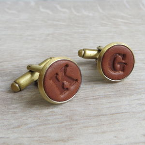 Bronze Embossed Leather Cufflinks