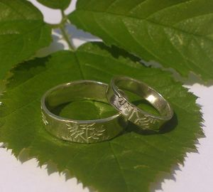 Ash Leaf Wedding Bands, In Sterling Silver - wedding & engagement rings