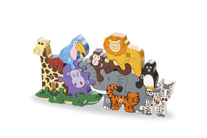 Handmade Wooden Zoo Number Jigsaw / Playset