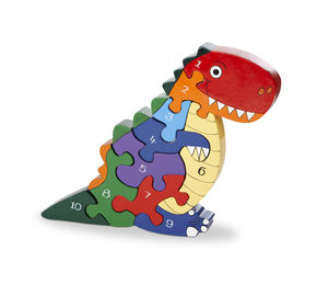 Handmade Wooden Number T Rex Dinosaur Puzzle - educational toys