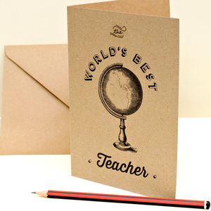 World's Best Teacher Card - gifts for teachers