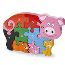 Handmade Wooden Number Pig And Piglets Puzzle