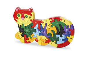 Handmade Wooden Alphabet Cat Puzzle