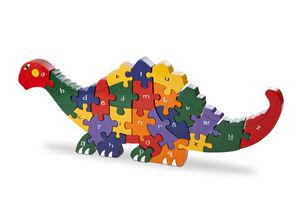 Handmade Wooden Alphabet Dinosaur Puzzle