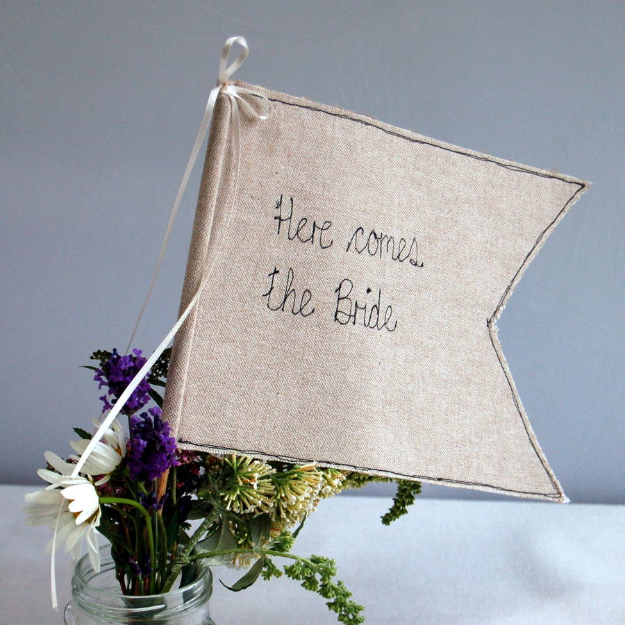 Here Comes The Bride Wedding Flag